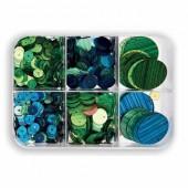 Paillettes mix, vert/bleu