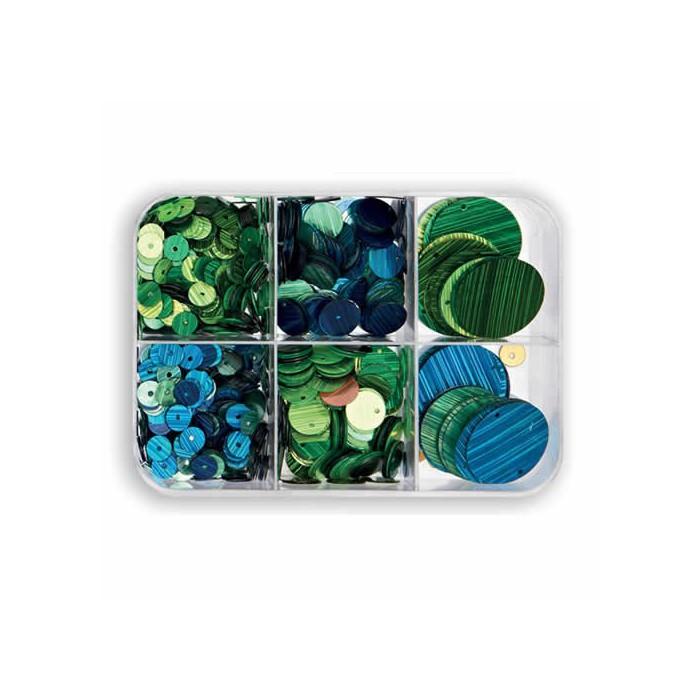 Paillettes mix, blue/green