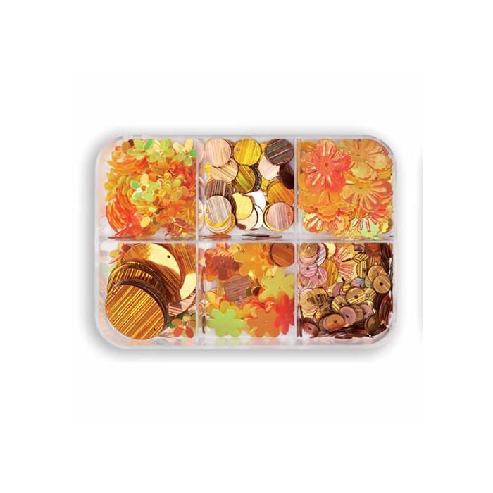 Paillettes mix, yellow/orange