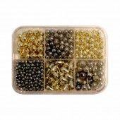 Decoration beads, grey/gold 4-10mm