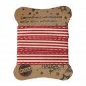 Ruban coton imprimé adhésif, rayures rouge