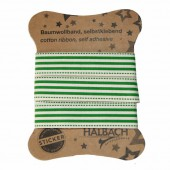 Ruban coton imprimé adhésif, rayures vert