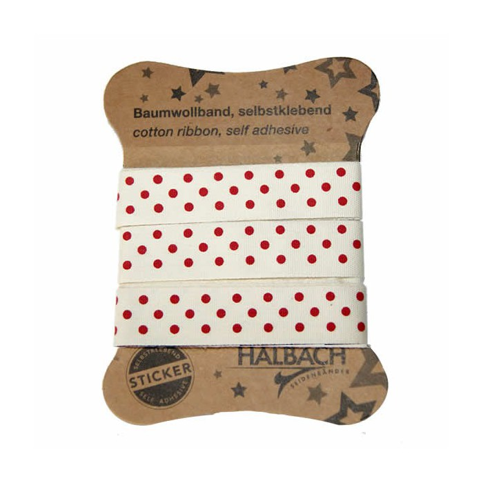 Adhesive Fabric Tape, dots red