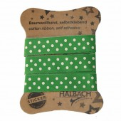 Adhesive Fabric Tape, dots green