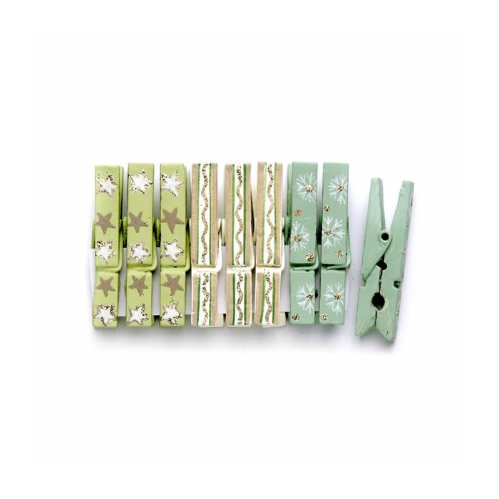 Christmas pegs, green / gold