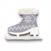 Wooden skates, 4x3.2cm, 6pces, grey