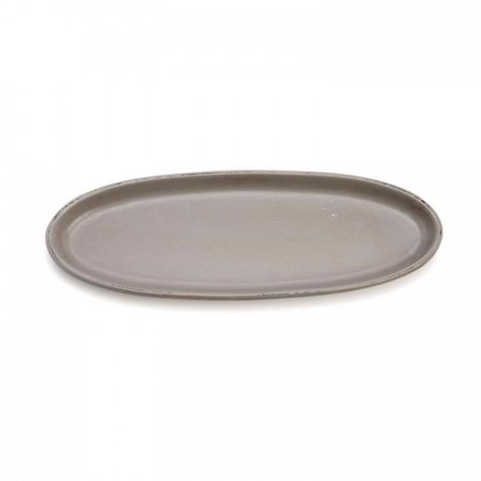 Oval long dish 39x14cm, dark grey