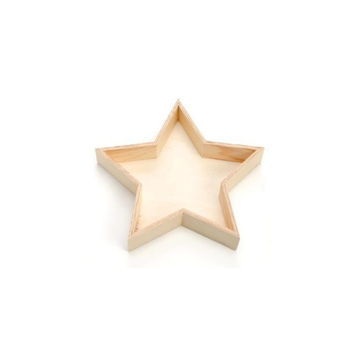 Wooden Tray star 23.8x23.8x5cm