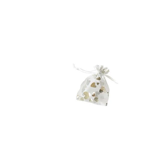 Gift-bag 7.5x11.5cm, hearts silver, 1 pce