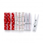 Christmas pegs, red/grey/white