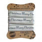 Adhesive Fabric Tape, Merry Christmas grey