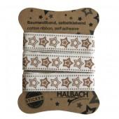 Ruban coton imprimé adhésif, étoiles brun