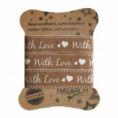 Adhesive Fabric Tape, With Love, brown