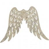 Metal angel wings,  60x75mm, silver, 6 pcs