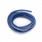 Suédine rivet argenté, bleu, 3mm/1m