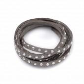 Suédine rivet argenté, gris, 5mm/1m