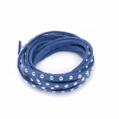 Suede lace with silver rivet, 5mm/1m, blue