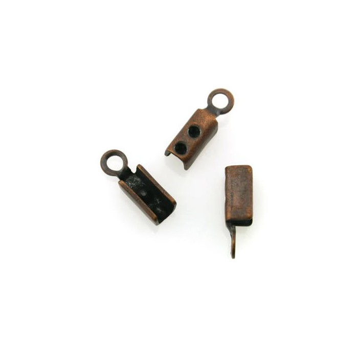 End cord fold crimps copper, 3mm, 4 pcs