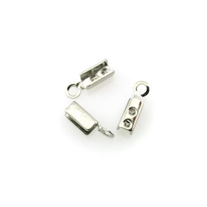 End cord fold crimps silver, 3mm, 10 pcs