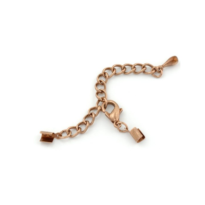 Complete trigger clasp with chain, copper, 1 pce