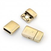 Magnetic clasp for flat leather 10mm, bronze, 1 pce