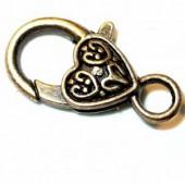 Clasps heart bronze, 28x13mm, 2 pcs