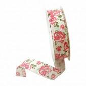 Decorative ribbon, Roses, 25mm/2.5m