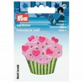Motif à fixer au fer à repasser, Cupcake rose/vert 4.5cm