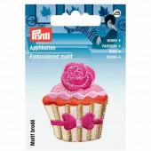 Motif à fixer au fer à repasser, Cupcake rose/beige 4.5cm