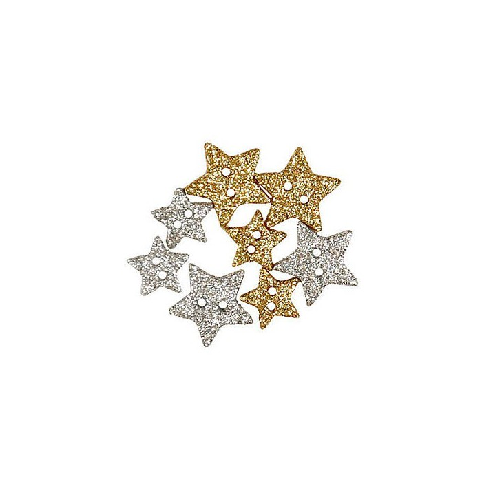 Buttons Sparkly Stars 13+18mm, 8 pcs