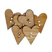 Boutons en bois, coeur 22mm, 6 pcs