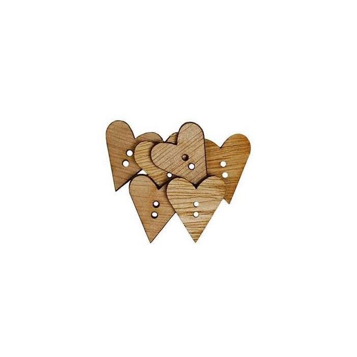 Wooden buttons heart, 22mm, 6 pcs