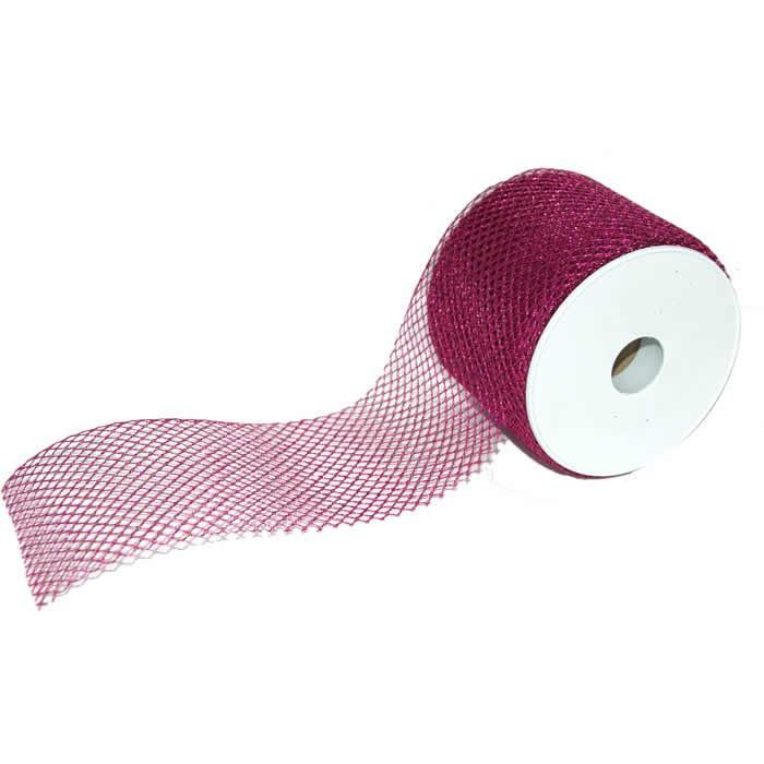 Shiny mesh fabric, 80mm/1m, magenta
