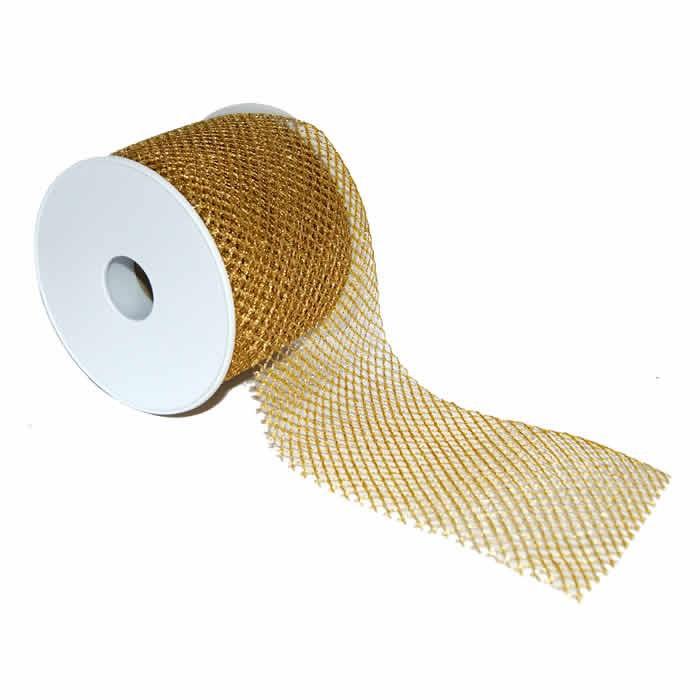 Shiny mesh fabric, 80mm/1m, gold
