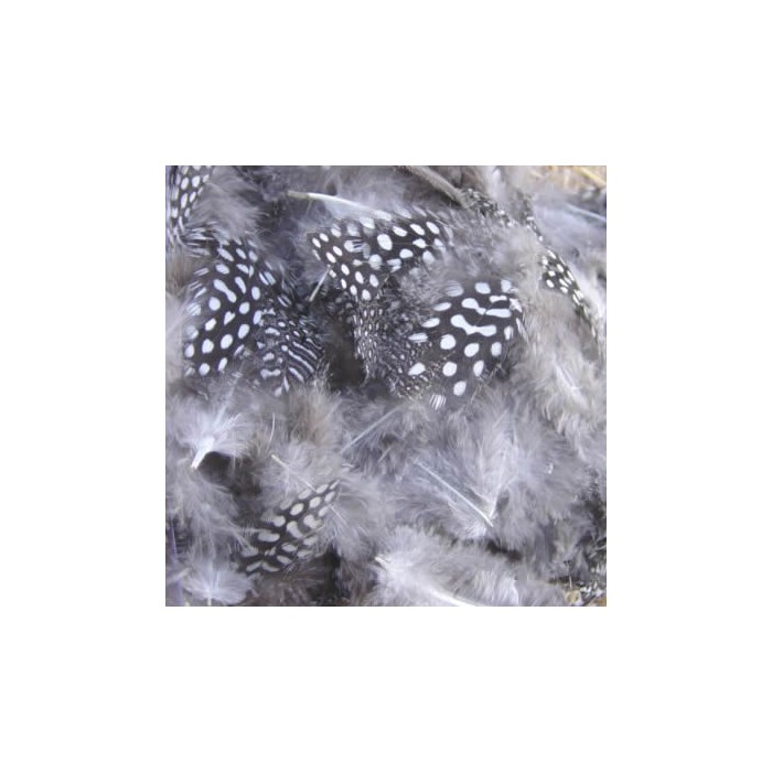 Grey Feathers with dots, 8cm, 15 pcs
