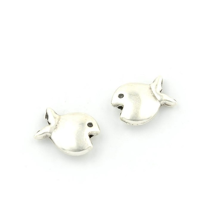 Fish metal beads, 14x11mm, 4 pces