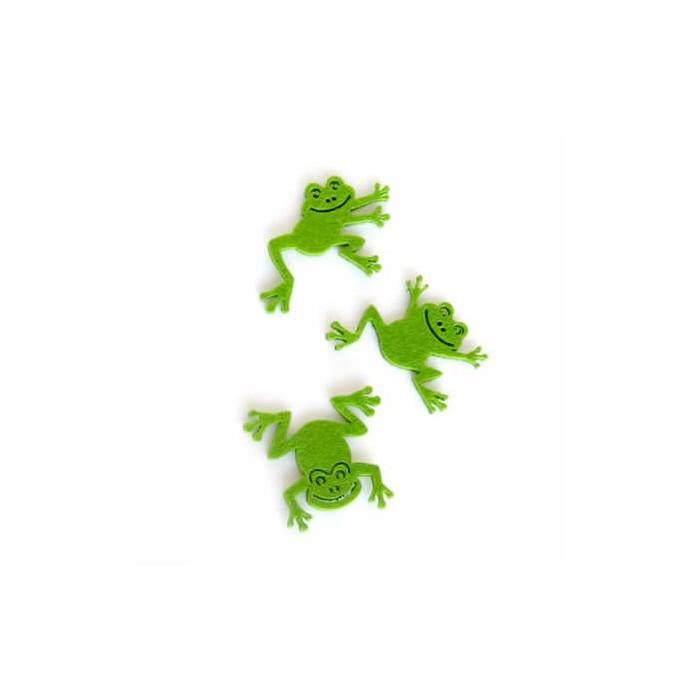 Felt frogs 5cm, 9 pcs, green