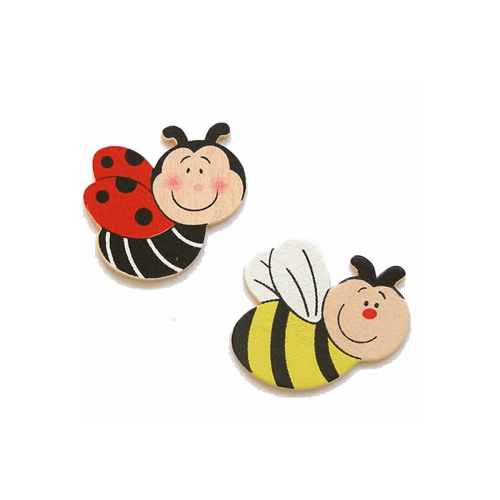 Wooden ladybugs and bees, 35mm, 6 pcs