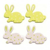 Wooden rabbits, white/green, 3cm, 9 pcs