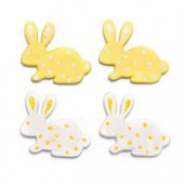 Wooden rabbits, white/yellow, 3cm, 9 pcs