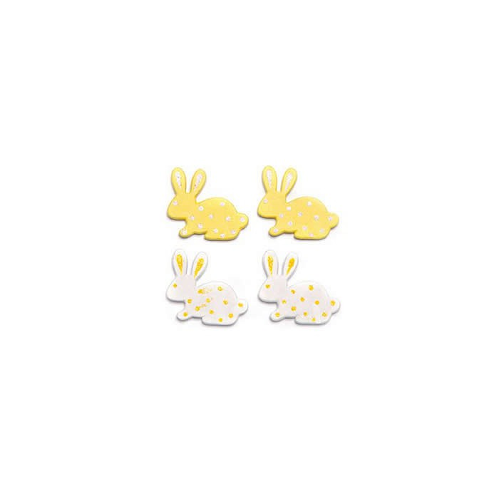 Wooden rabbits, white/yellow, 3cm, 9 pcs
