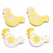 Wooden hens, white/yellow, 3cm, 9 pcs