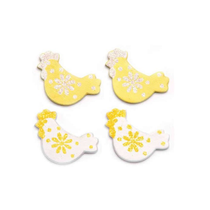 Wooden hens, white/yellow, 3cm, 9 pcs