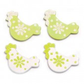 Wooden hens, white/green, 3cm, 9 pcs