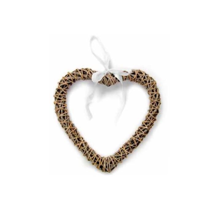 Rattan heart grey, 25cm