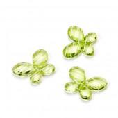 Papillons en acryl, 3cm, vert, 12 pcs