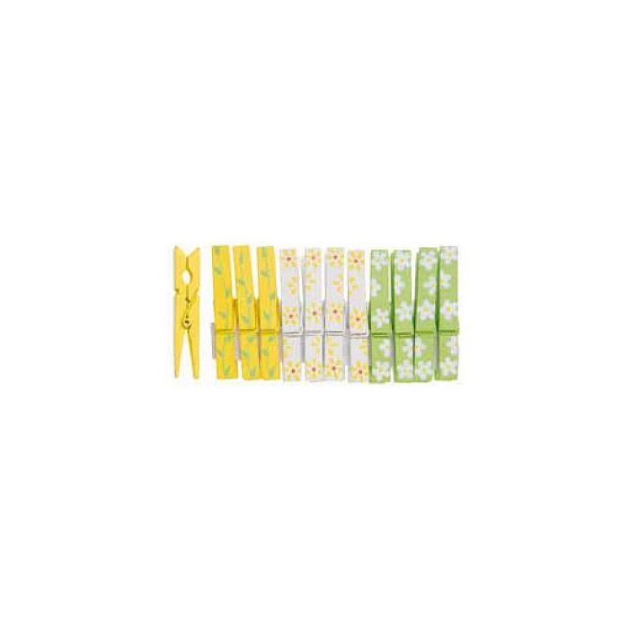 Spring pegs, yellow/green