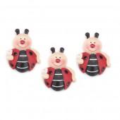 Resin ladybugs, 3 cm, 3 pcs