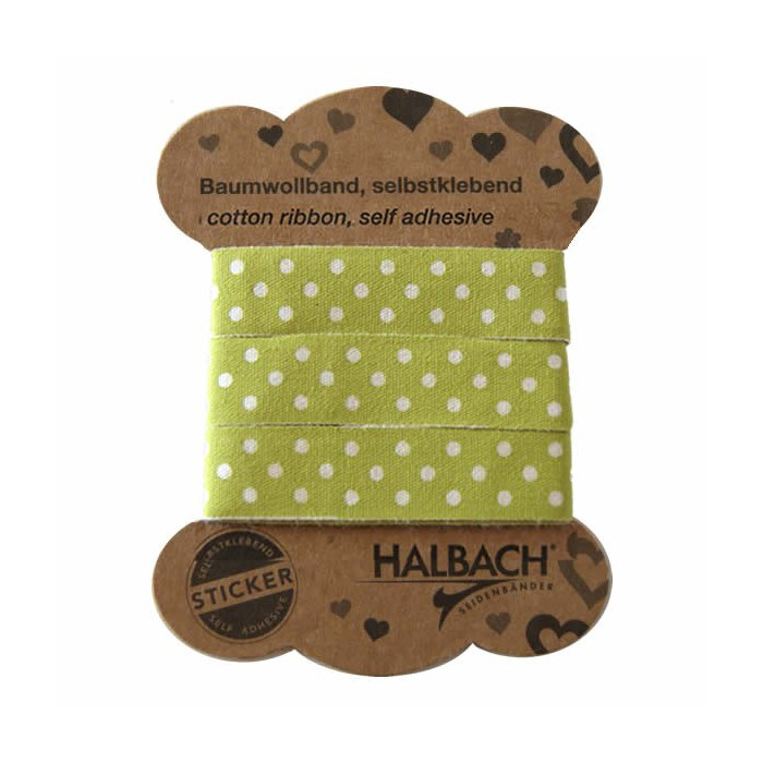 Adhesive Fabric Tape, dots green