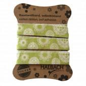Ruban coton imprimé adhésif, vert à fleurs
